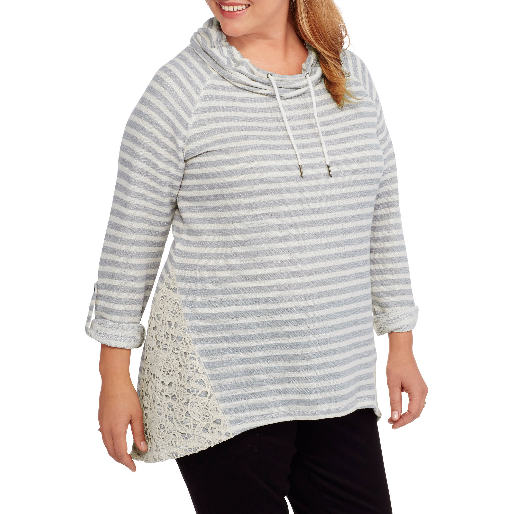 French Laundry Women's Plus Funnel Tie Neck with Roll Up Sleeve and Crochet Knit Top