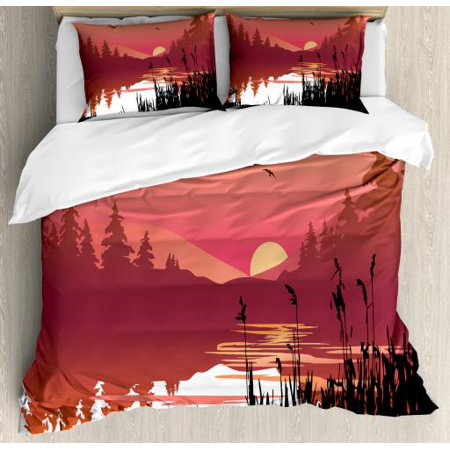 Landscape Queen Size Duvet Cover Set, Tranquil Sunset on River Bushes Distant Hills and Spruce Trees, Decorative 3 Piece Bedding Set with 2 Pillow Shams, Coral Pale Orange and Black, by (One Tree Hill River Court Pieces For Sale)