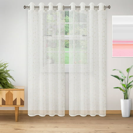 Superior Lightweight Delicate Flower Sheer Curtain Panels (2) - Champagne