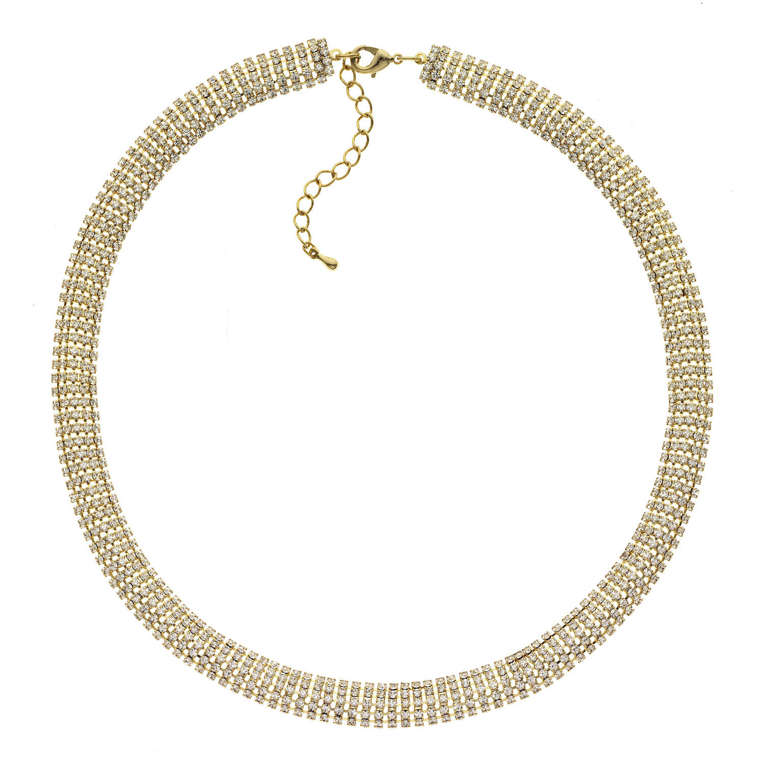 X & O Handset Austrian Crystal 14kt Gold-Plated 10mm Snake Chain Necklace