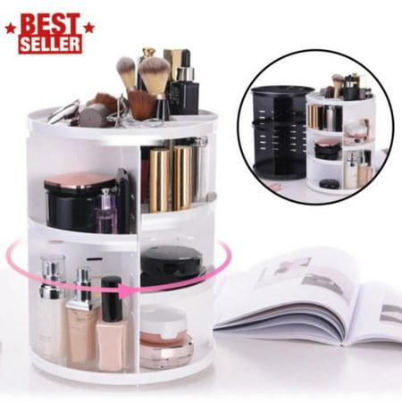 Amerteer Makeup Organizer Shelf, 360 Degree Rotating Adjustable Multi-Function Cosmetics Storage Box for