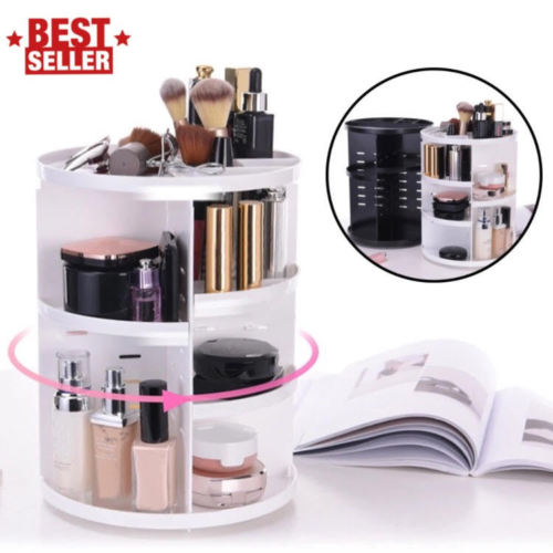 Amerteer Makeup Organizer Shelf, 360 Degree Rotating Adjustable Multi-Function Cosmetics Storage Box for Different Sizes of Cosmetics,Makeup Brushes,Space-Saving(White)