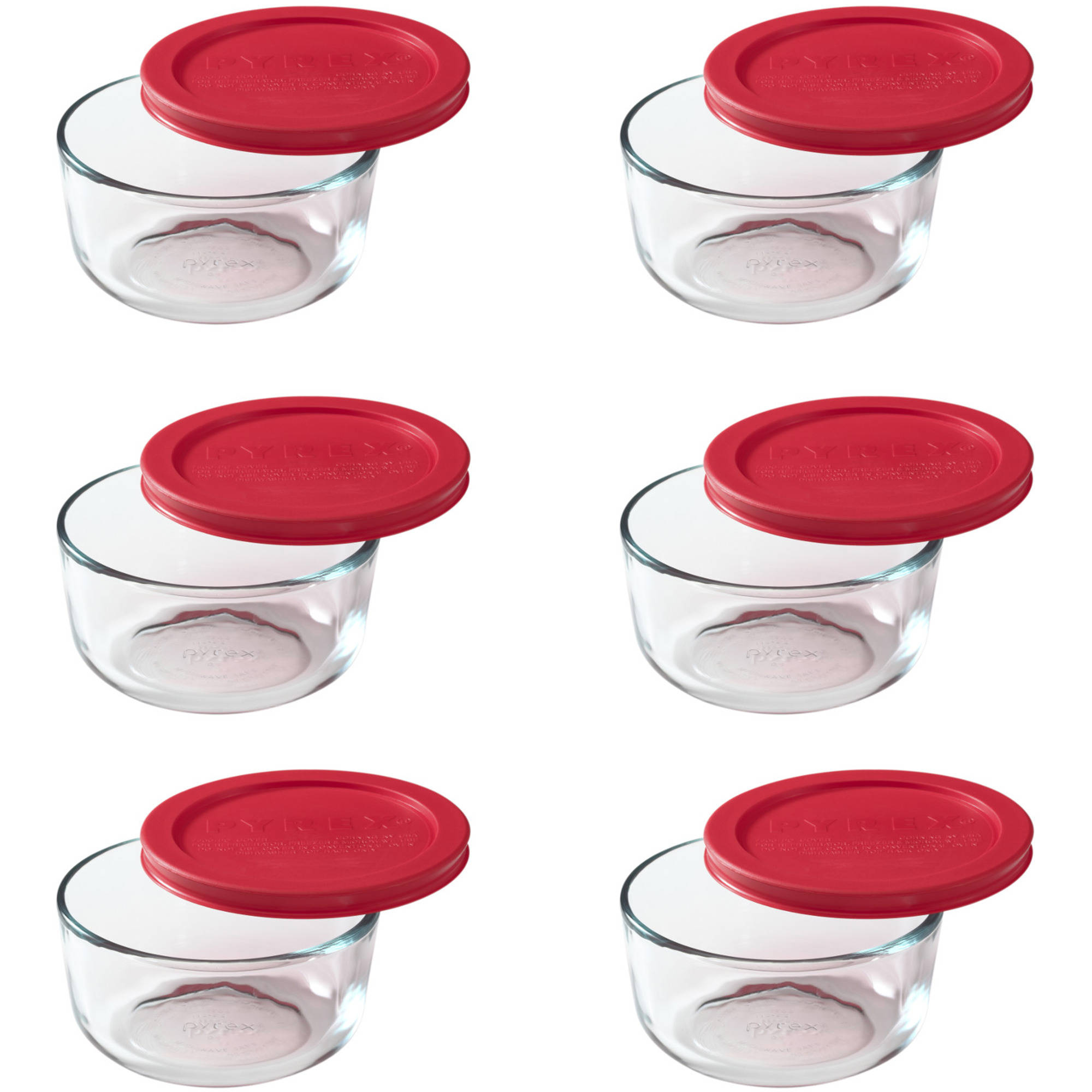 Pyrex Storage Plus 2-Cup Round with Red Plastic Cover, Set of 6