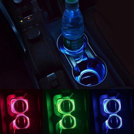 Solar Pals - 2 Pack Solar LED Light Cup Holder Bottom Pad Mat Interior Decoration For All Cars