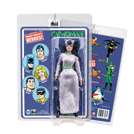 DC Comics 8 Inch Action Figures With Mego-Like Retro Cards: Catwoman [Purple Dress] - Cavewoman Outfit