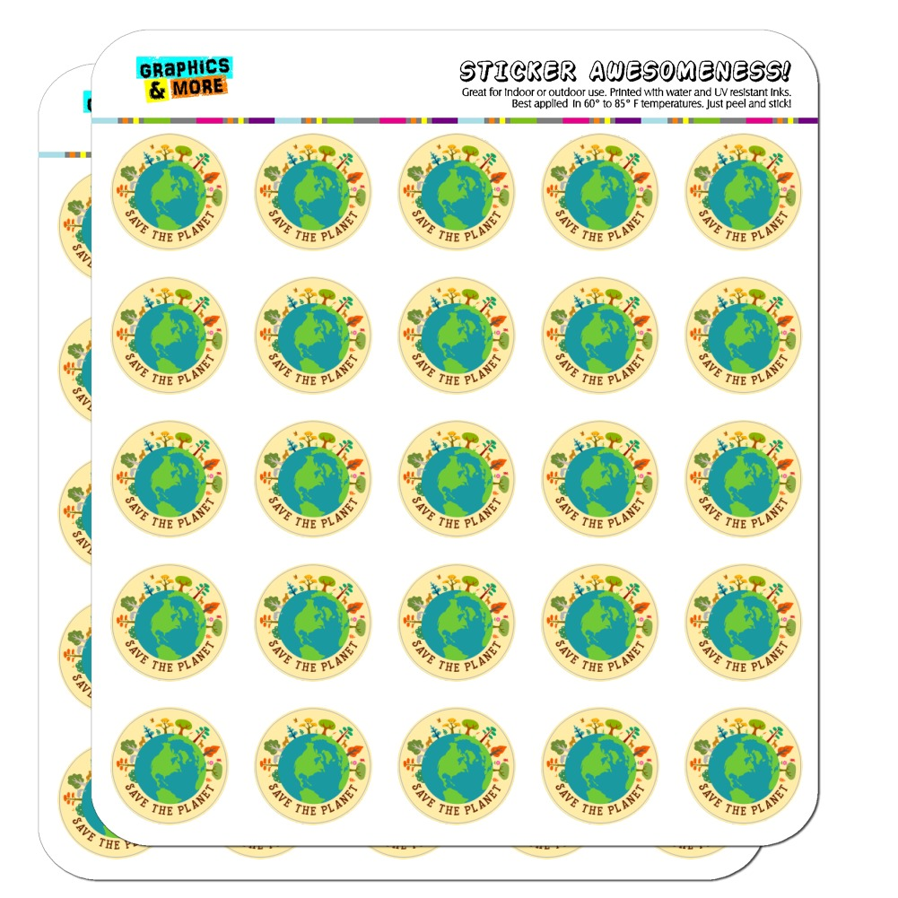 "Save The Planet Illustration Conservation 1"" Planner Calendar Scrapbooking Crafting Opaque Stickers"