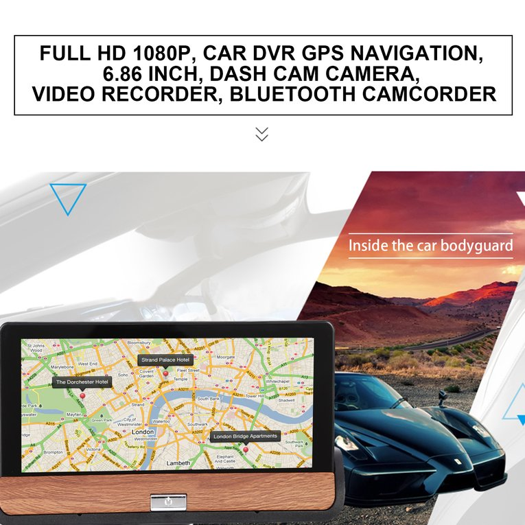 HD 1080P Car DVR GPS Navigation 6.86 inch Dash Cam Camera Bluetooth Camcorder