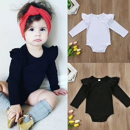 Cute Solid Newborn Baby Girls Long Sleeve Bodysuit Romper Jumpsuit Outfit - Cute Girl Babies