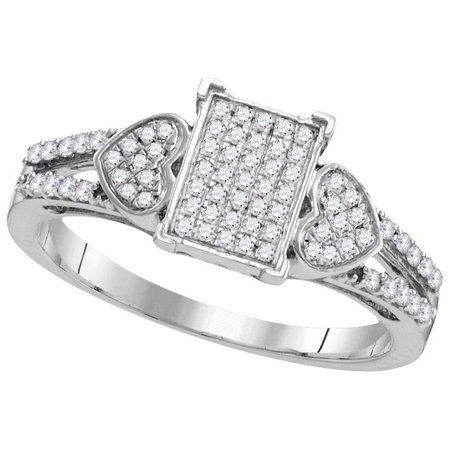 Size - 7 - Solid 10k White Gold Round White Diamond Engagement Ring OR Fashion Band Micro Pave Set Emerald-Shape Shaped Heart Ring (1/4 cttw) (Micro Pave Diamond Ring)