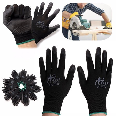 12 Pair Nitrile Coated Working Gloves Nylon Safety Labour Factory Garden Repair Worknit Nitrile Coated Gloves
