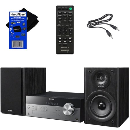 Sony All In One Stylish Micro Music Stereo System with Wireless Streaming NFC (Near Field Communications), Bluetooth, USB, CD player & AM/FM tuner + Remote + Aux Cable + HeroFiber® Cleaning (Sony Ht Is100 Bravia Theater Micro System)
