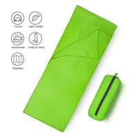 QF Portable Sleeping Bag Liner Lightweight Warm Roomy Cotton Travel Sheet Sleep Sack Liner for Travel Green