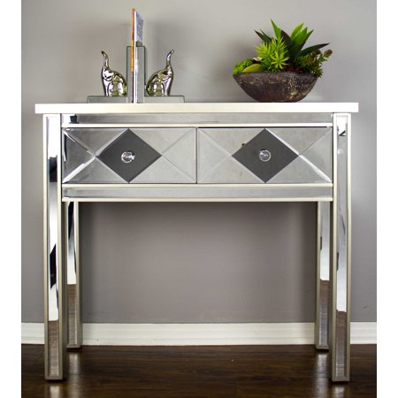 22' Champagne Mirrored Console Table with 2 Drawers