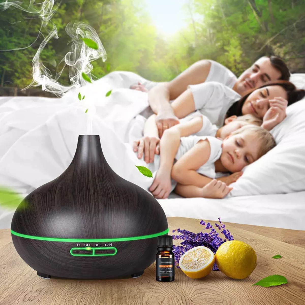 Details about  /400ml Aroma Essential Oil Diffuser Ultrasonic Air Humidifier With Wood Grain