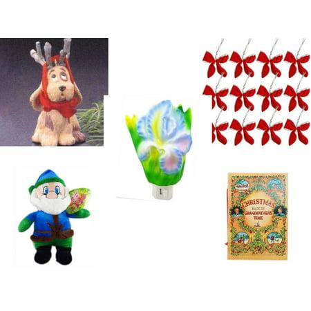 Christmas Fun Gift Bundle [5 Piece] - Hallmark Reindoggy Ornament QX4527 - Set of 12 Red Velvet White Trim Wire Bows - Flower Nightlight Iris - Soft & Cuddly Elf  14