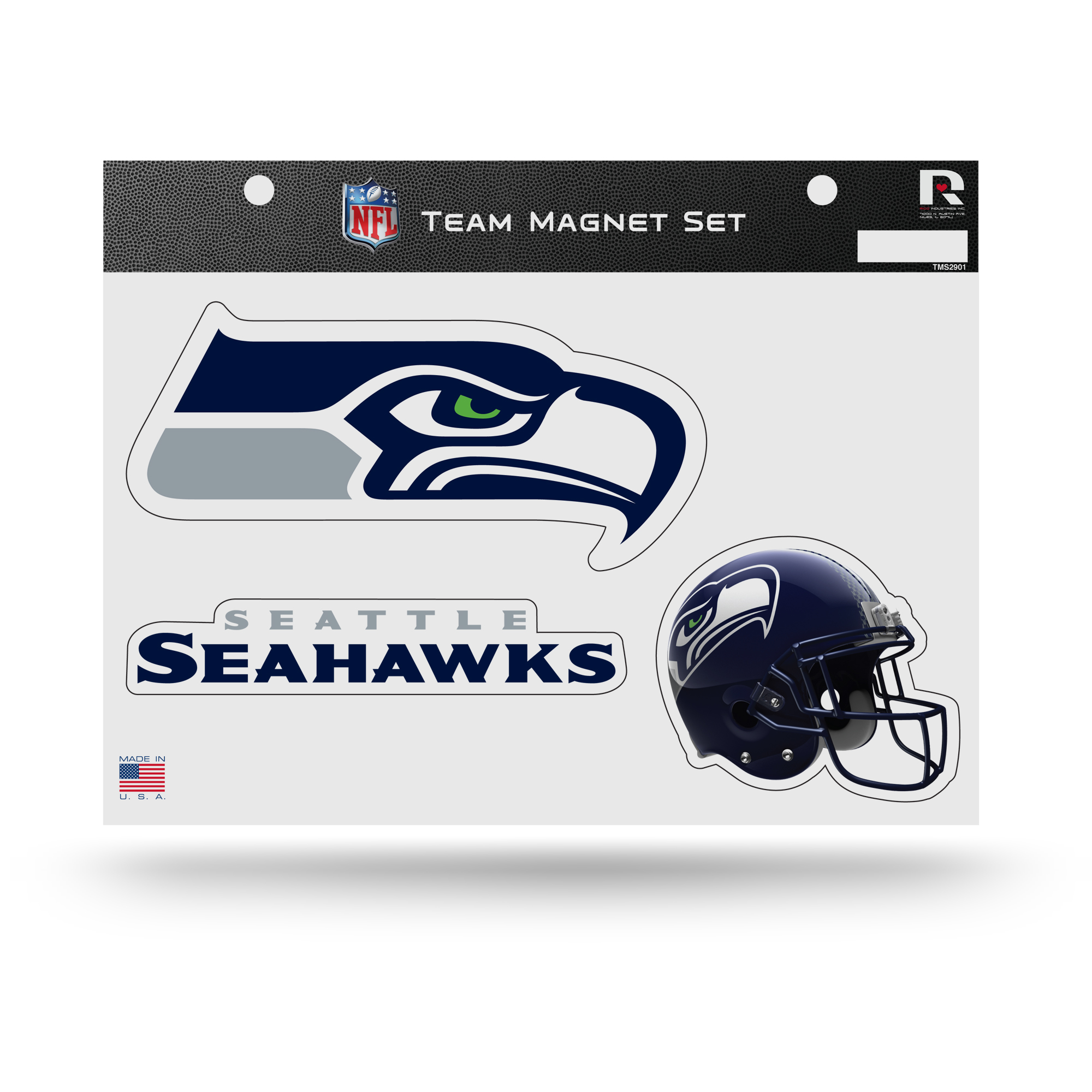 Seattle Seahawks Official NFL 8 inch x 11 inch  3 Piece Team Car Magnet Sheet by Rico Industries