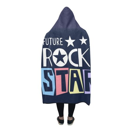 HATIART future rock star Hooded Blanket 56x80 inch Adults Girls Boys Blankets with Hood - image 1 de 3