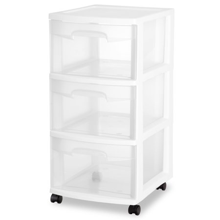 Sterilite 3 Drawer Cart, White