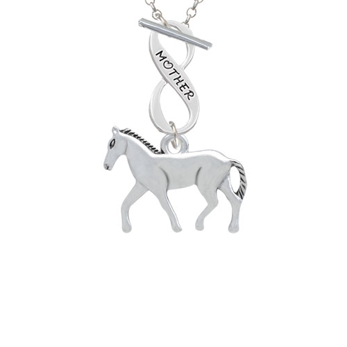 Walking Horse Mother Infinity Toggle Chain Necklace