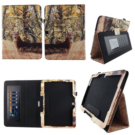 Camo Tail Deer Samsung Galaxy Tab 4 10.1 / Tab 4 Nook 10.1 Folio Case Slim Fit Premium Pu Leather Cover for Samsung Tab 4 10 Inch / Tab 4 Nook 10 Inch Tablet w Auto Sleep/Wake Stylus Holder ID Slots (Samsung 10 Inch Tablet 4 Case)