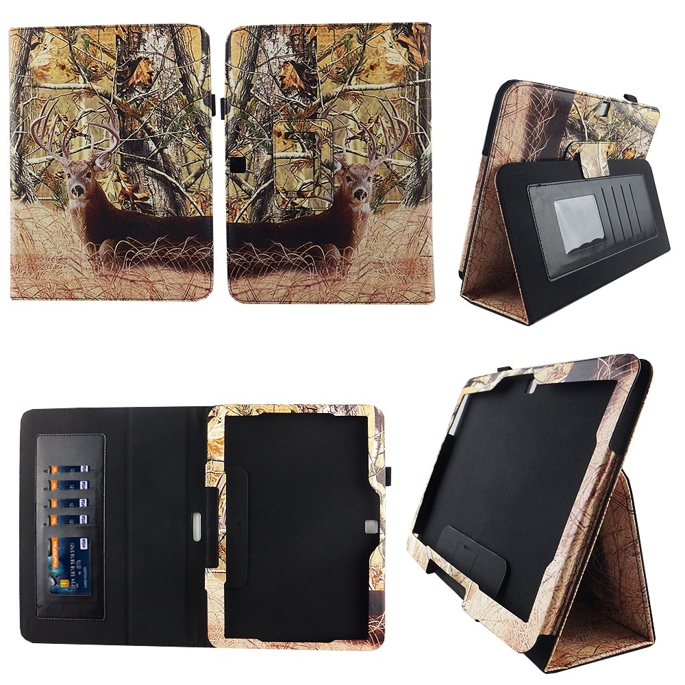 Camo Tail Deer Samsung Galaxy Tab 4 10.1 / Tab 4 Nook 10.1 Folio Case Slim Fit Premium Pu Leather Cover for Samsung Tab 4 10 Inch / Tab 4 Nook 10 Inch Tablet w Auto Sleep/Wake Stylus Holder ID Slots