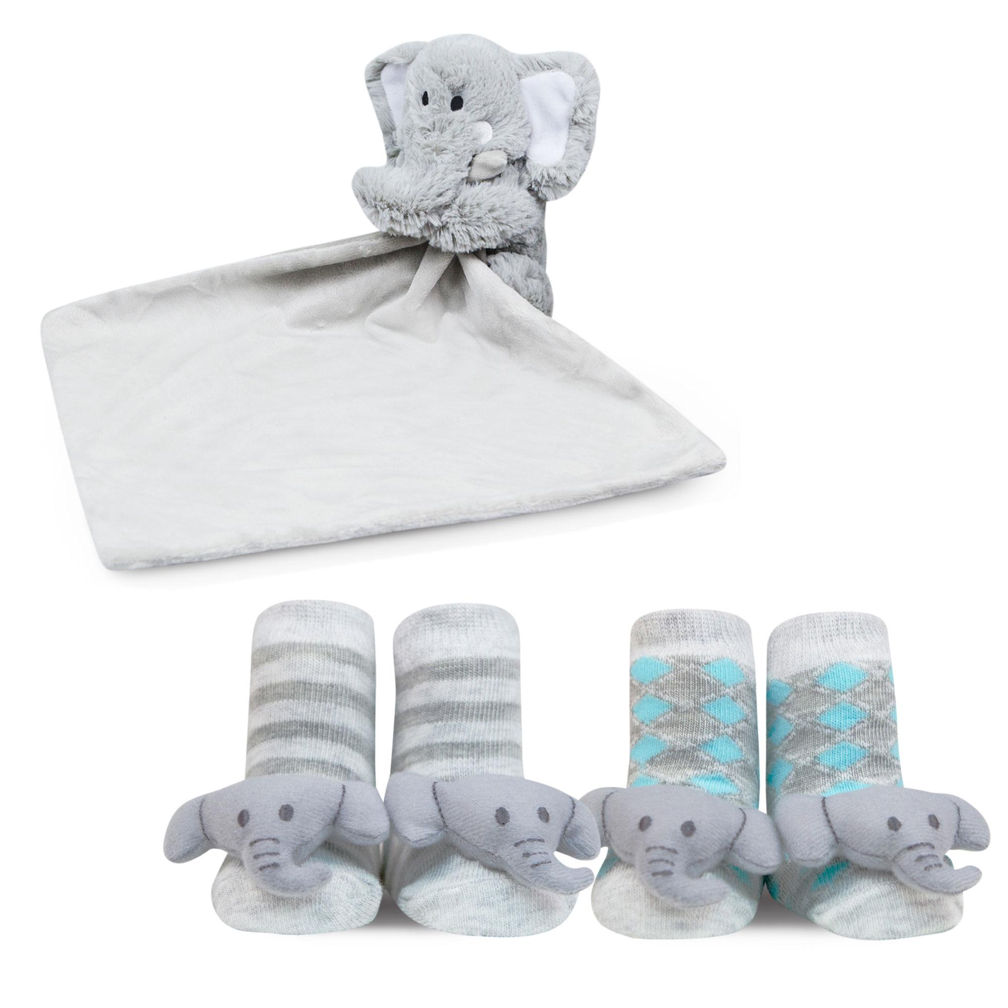 Waddle Baby Gift Set Plush Elephant Security Blanket and Newborn Rattle Socks