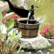 HGC 1 Tier Wood Barrel Outdoor Fountain
