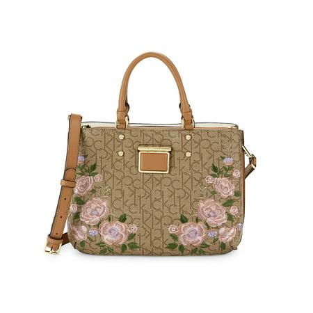 Dani Floral Monogram Canvas Satchel Calvin Klein Hobo Bag