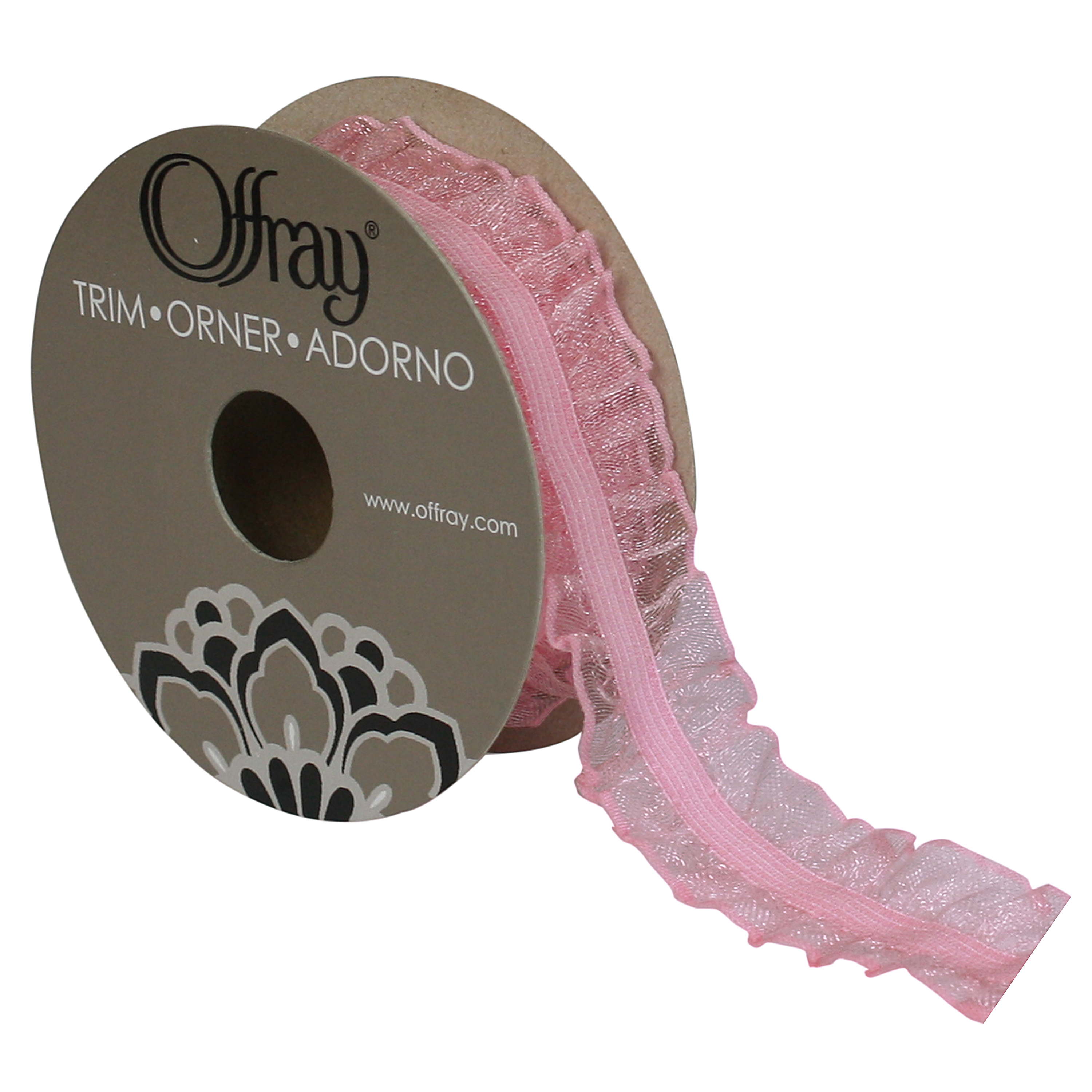OFFRAY TRIM LIGHT PINK RUFFLE EDGE  1 INCHES X 3 YARDS