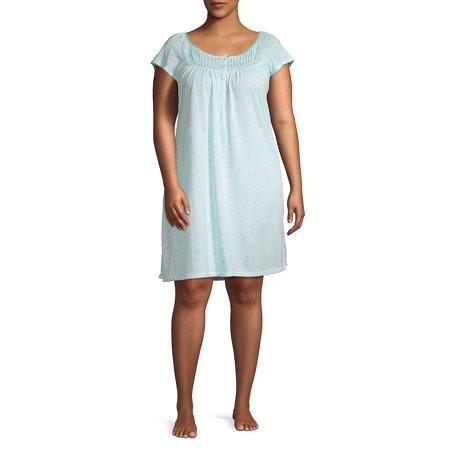 Plus Printed Cotton Blend Sleep Gown