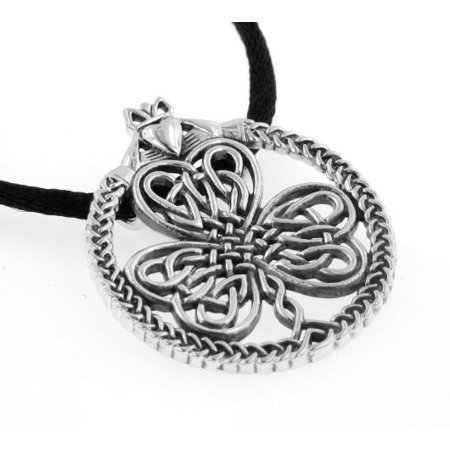 - Celtic Knot Irish Shamrock Clover in Claddagh Large Round Sterling Silver Pendant Necklace