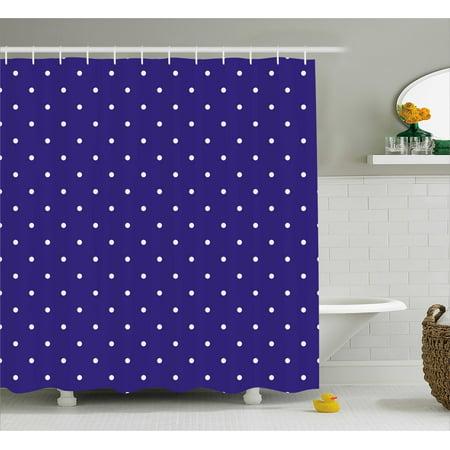 Navy Shower Curtain Cute Polka Dots Pattern Nostalgic Feminine Shabby Chic Little Spots Artistic Motif