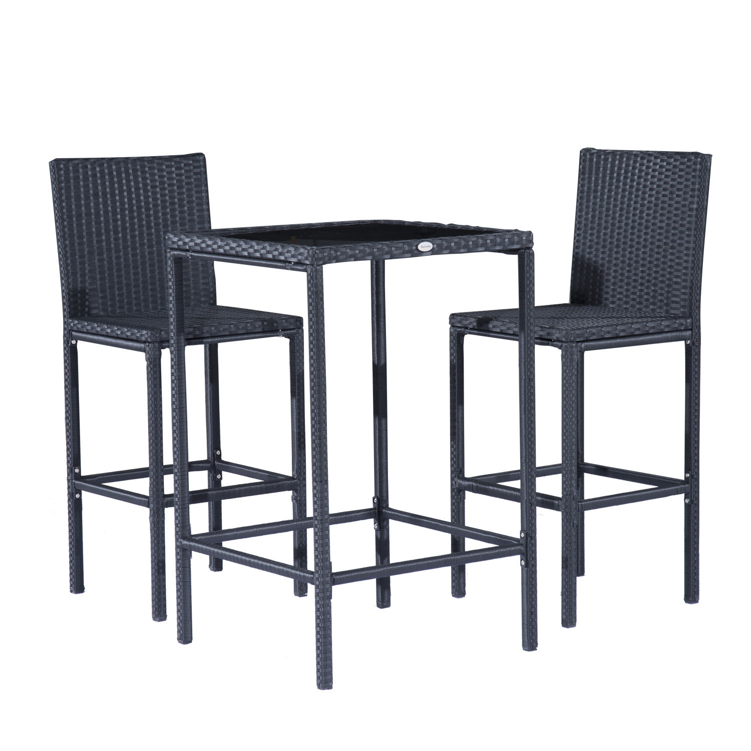 Outsunny 3-Piece Patio Bistro Dining Set Rattan Wicker Outdoor