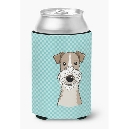 Checkerboard Blue Wire Haired Fox Terrier Can or Bottle Hugger