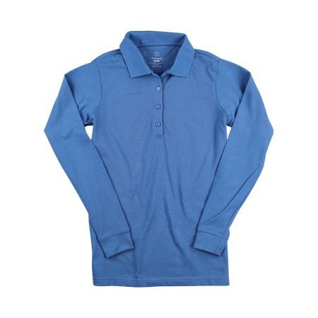 Women's Long Sleeve Poly/Cotton Pique Polo Shirt (Marina Blue,