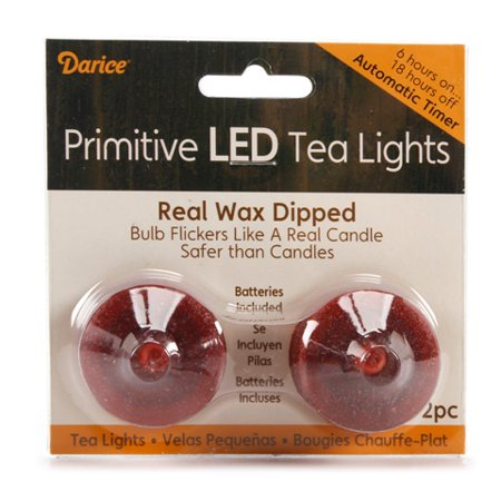 Primitive LED Tea Lights with Timer - Wax Dipped - Burgundy/Sand - 2 pieces ()