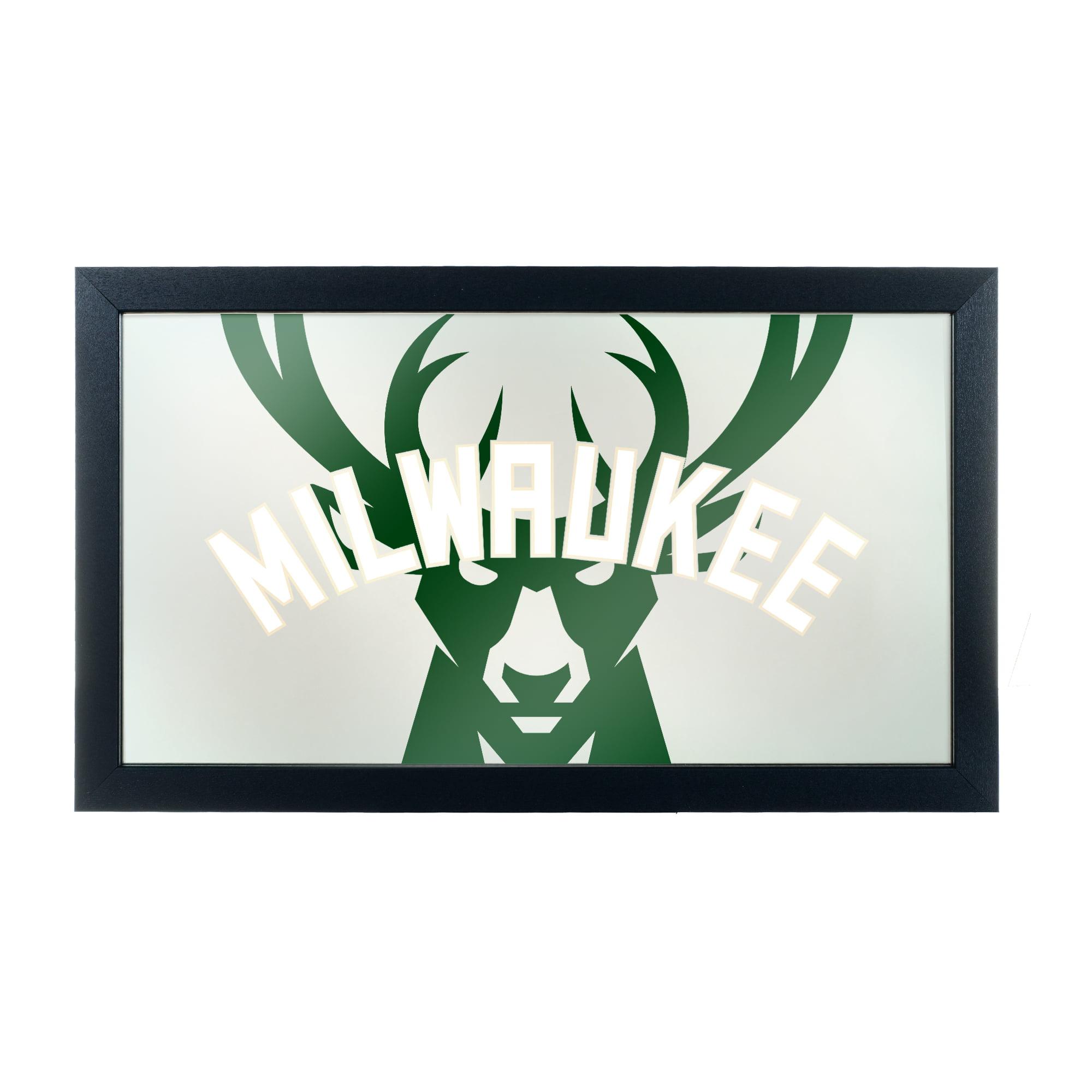 NBA Framed Logo Mirror - Fade - Milwaukee Bucks