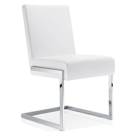 Baxton Studio Toulan Modern and Contemporary White Faux Leather Upholstered Stainless Steel Dining