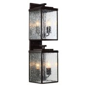 Varaluz Mission You 4-Light Outdoor Large Wall Sconce - 6.88W in. Glossy Bronze - Clear Glass