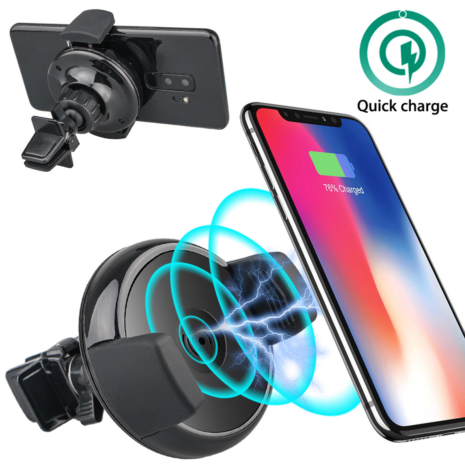 Qi Wireless Charger Holder, Car Air Vent Mount Dock for iPhone X/8Plus, Samsung Galaxy S9/S8 Plus/S7/S6 Edge Note 9 8 & Qi Enabled Devices