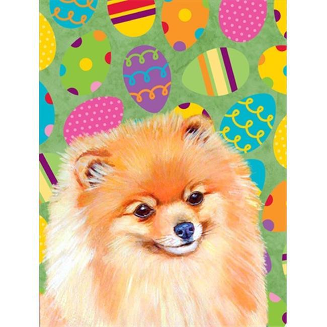 Carolines Treasures LH9440GF 11 x 15 in. Pomeranian Easter Eggtravaganza Garden Size Flag - image 1 de 1