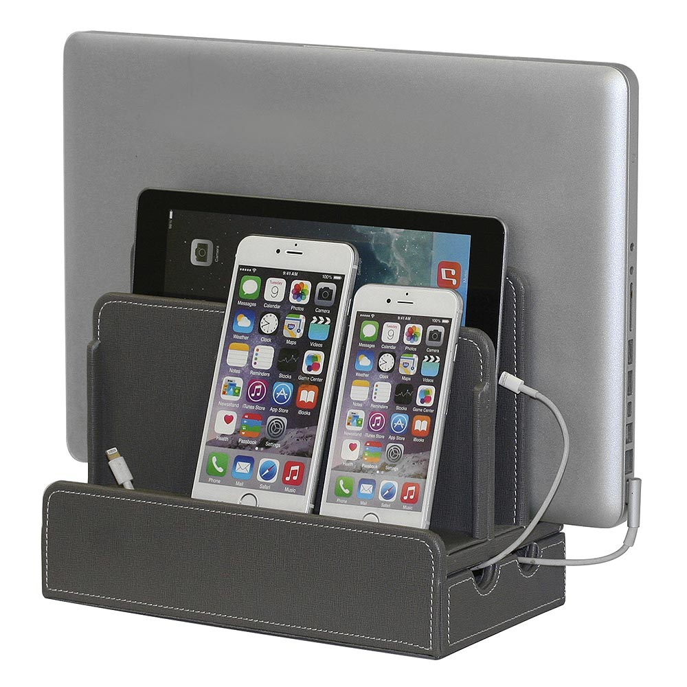Gray Leatherette Multi-Device Charging Station and Dock