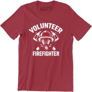 Firefighter Volunr Fire Rescue Thin Red Line Department Mens Tee Shirt