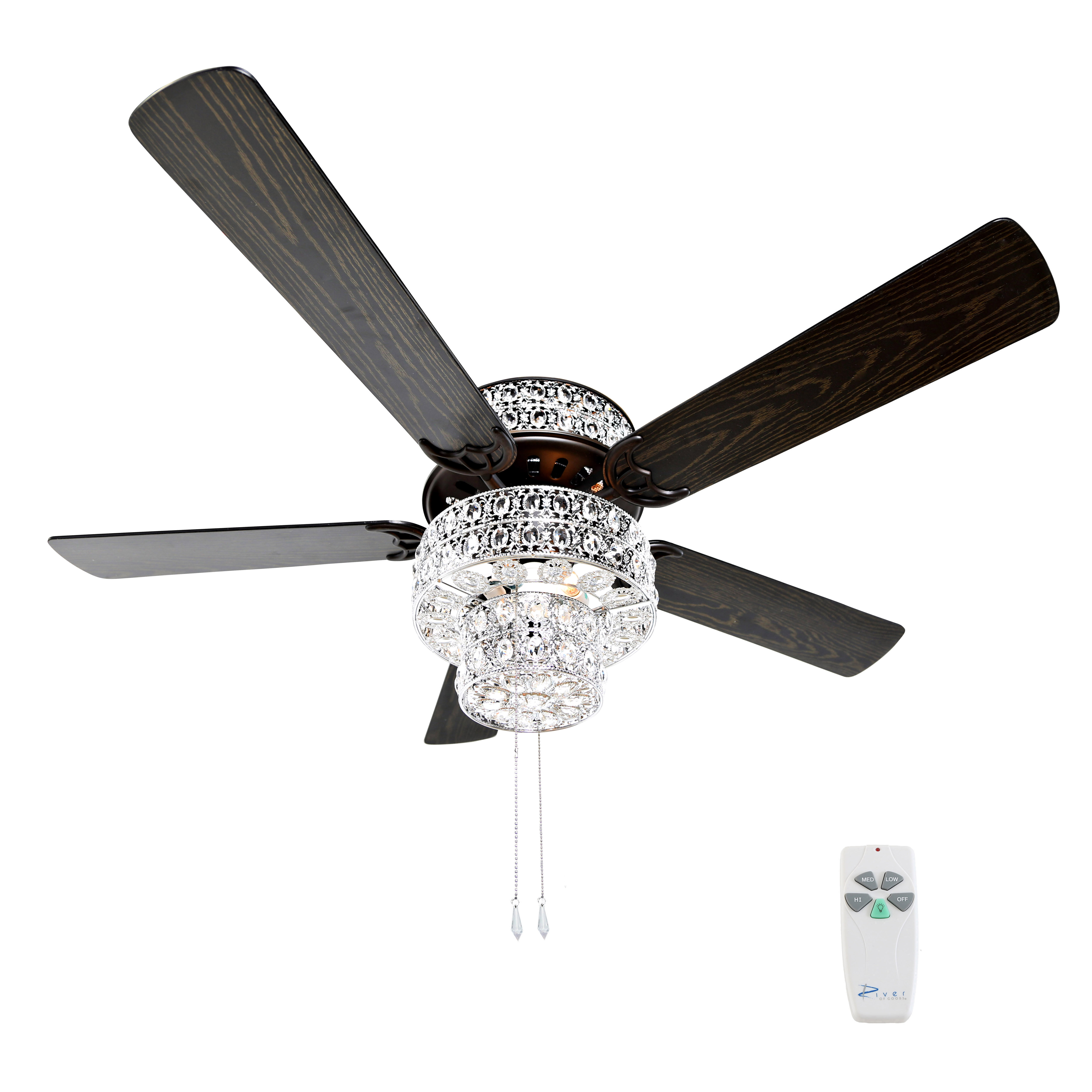 "River of Goods 52""W Bella Crystal 5-Blade Ceiling Fan with Remote"
