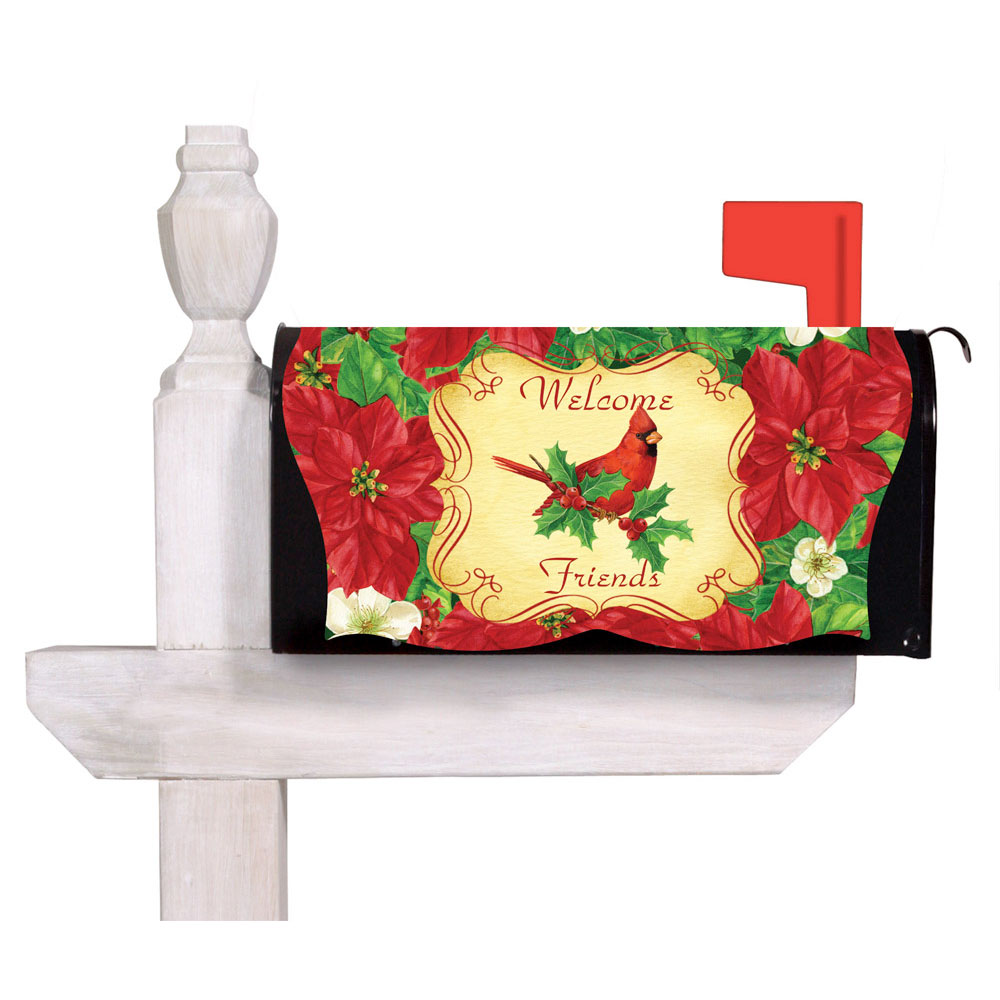 Welcome Friends Cardinal And Poinsettias Mailbox Cover