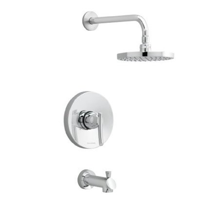 - american standard t010502.002 green tea bath and shower trim kit, 6#3/4-inch rain showerhead, brass shower arm, metal diverter spout, polished chrome