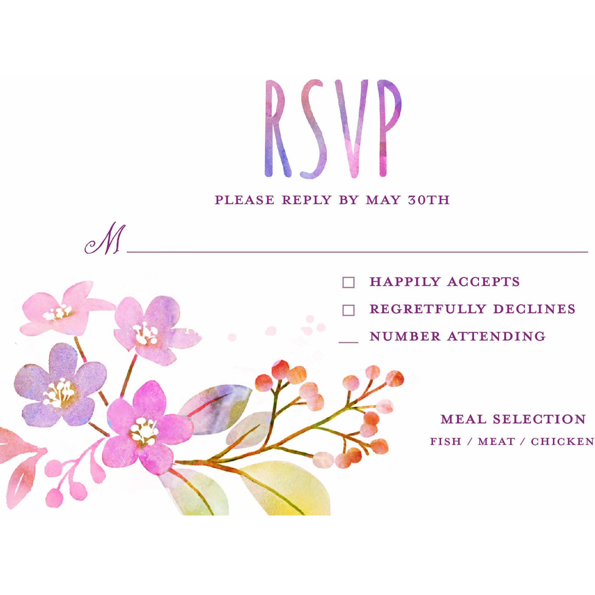 Watercolor Feather Standard RSVP