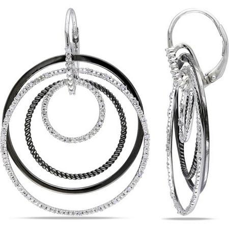 1/4 Carat T.W. Diamond Two-Tone Sterling Silver Leverback Hoop Earrings