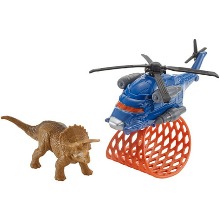 Matchbox Jurassic World Dino Transporters Tricera-Copter Figure Set