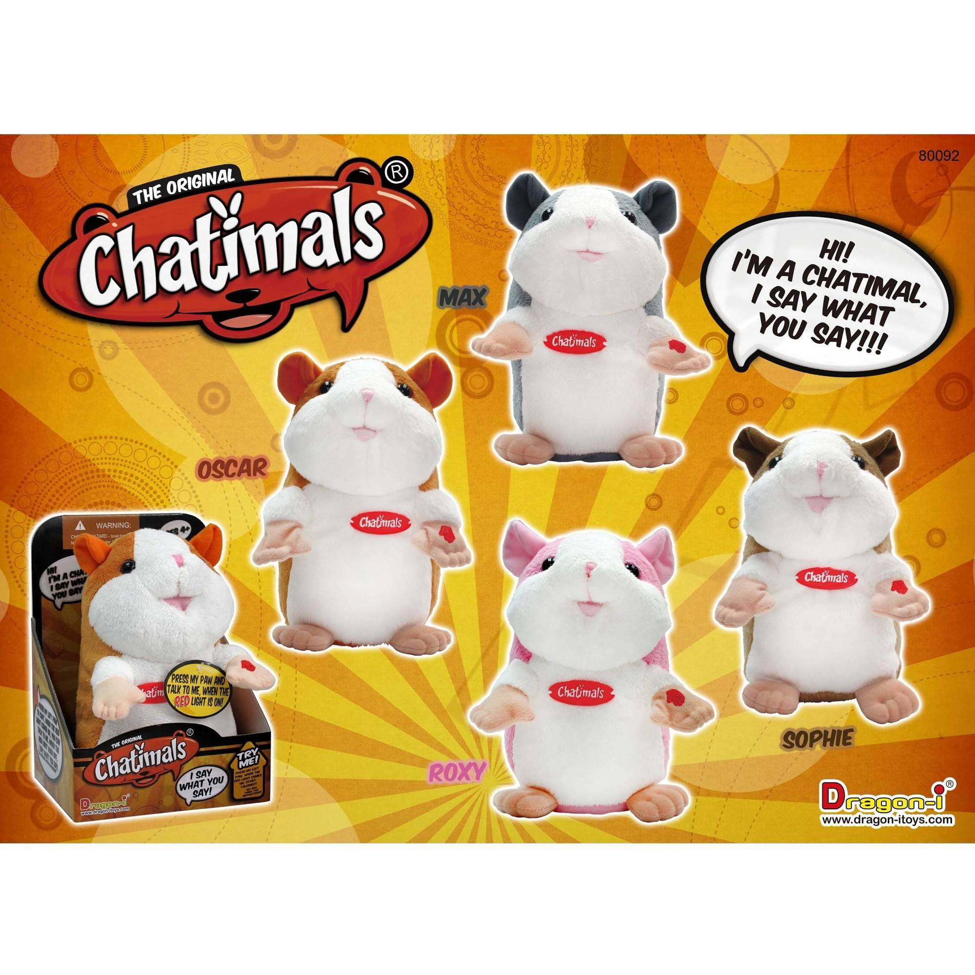 """Talking Chatimals Hamster, WE SAY WHAT YOU SAY, Plush Toy 7.5"""" High by Dragon-I Toys Ltd"""
